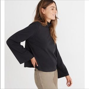 MADEWELL | Black turtleneck bell sleeve top